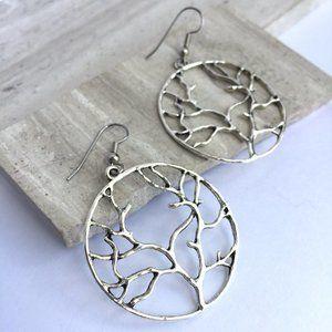 Silver Tree branch Hoop Earrings